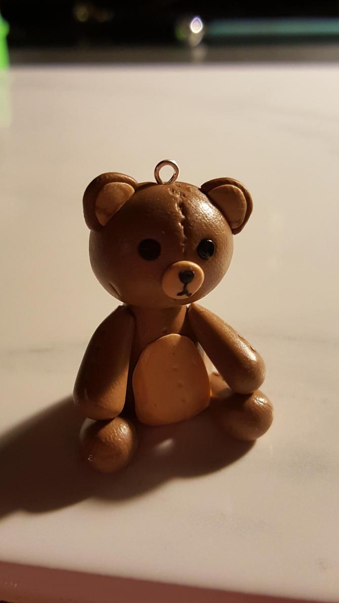 Polymer Clay Teddy Bear Charm by Zen-In-Motion