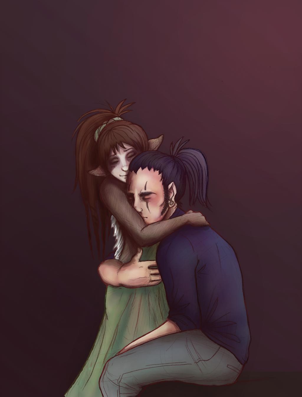 Revelation of Ula'ran: Couple Embrace by Kiotoko-Solo