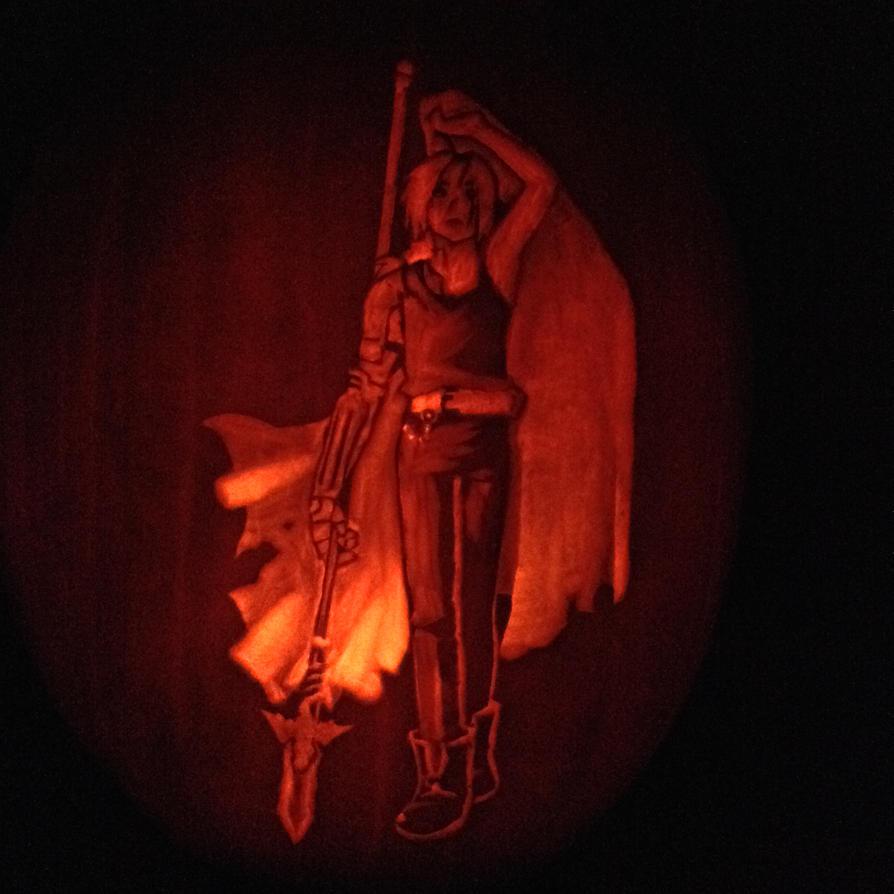 Edward Elric Pumpkin Carving (lit up) by TerraAlchemist