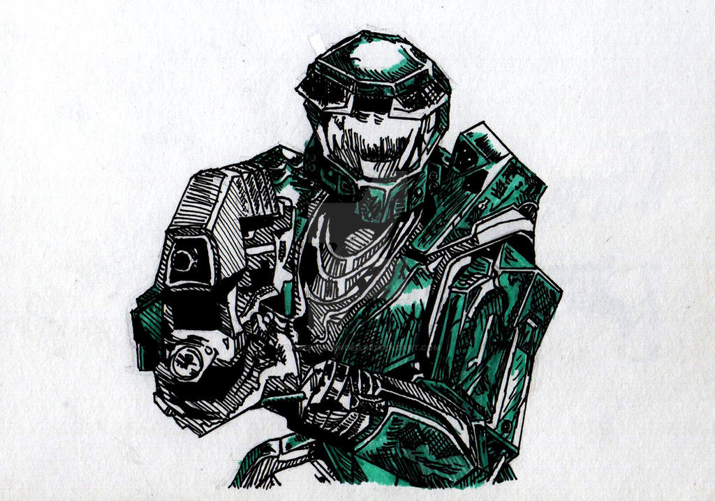 Inktober 2016 10 Master Chief Halo Ce By Gamers Blended