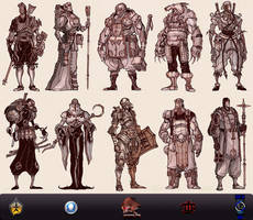 Medieval Battle Arena. Fantasy Characters.