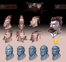 Medieval Battle Arena. Barbarian head profile.
