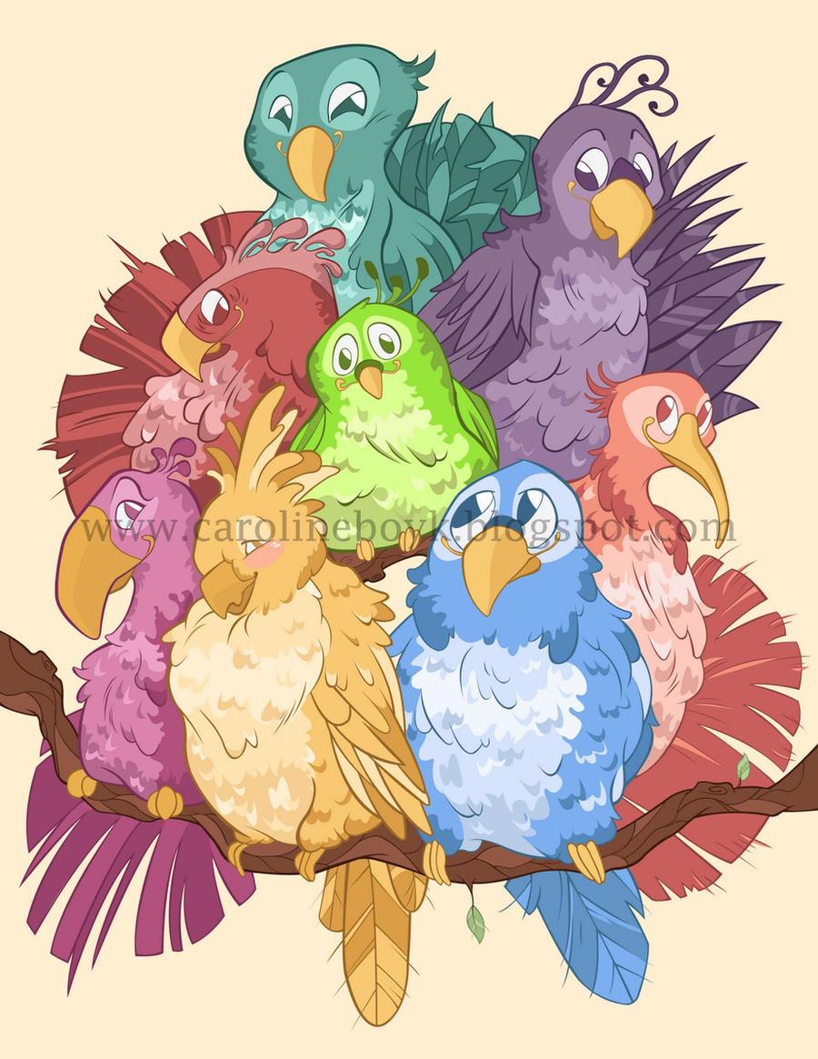 Group Birds by CarolineDoodles