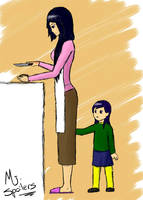 Hanako makes dinner by Draezeth