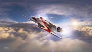Crimson Wing In Flight