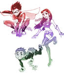 Robin,Starfire,BeastBoy
