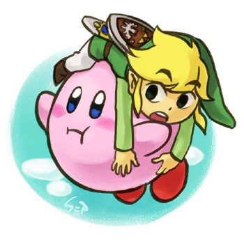 Link and Kirby by Sii-SEN