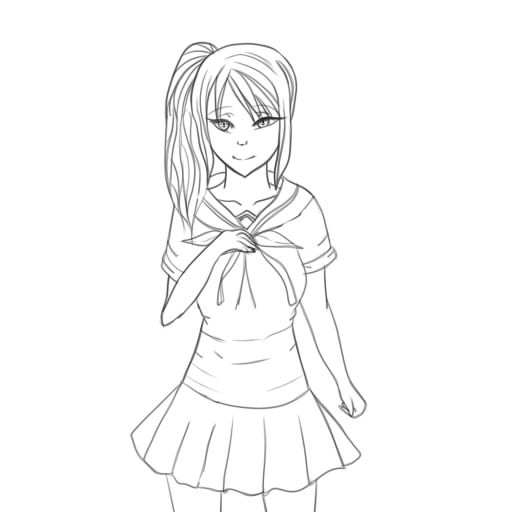 Yandere chan lineart by anthirules on deviantart for Yandere simulator coloring pages
