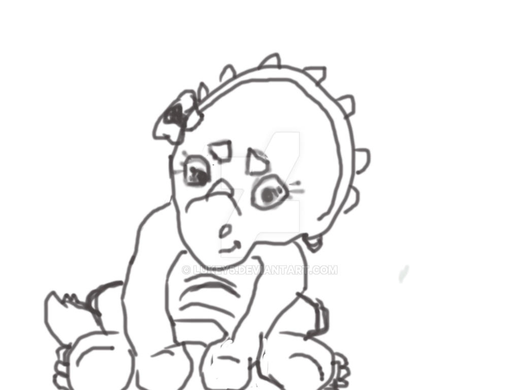 Line Art Baby : Baby triceratops line art by lukey on deviantart