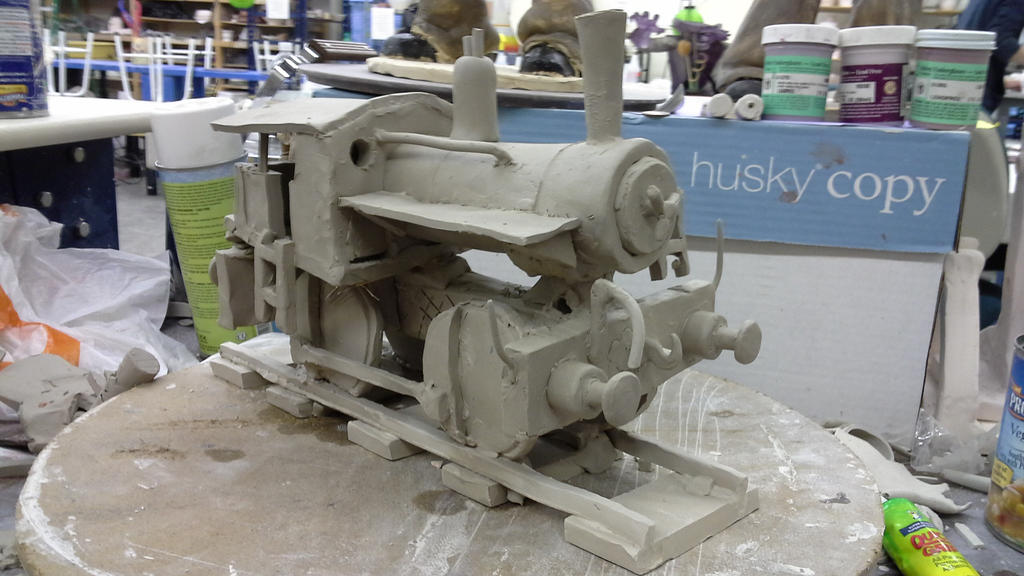 working on a steam locomotive in ceramics class by ownerfate