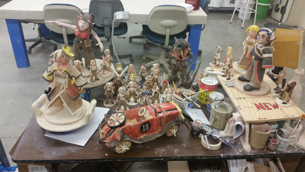 my table in ceramics class. by ownerfate