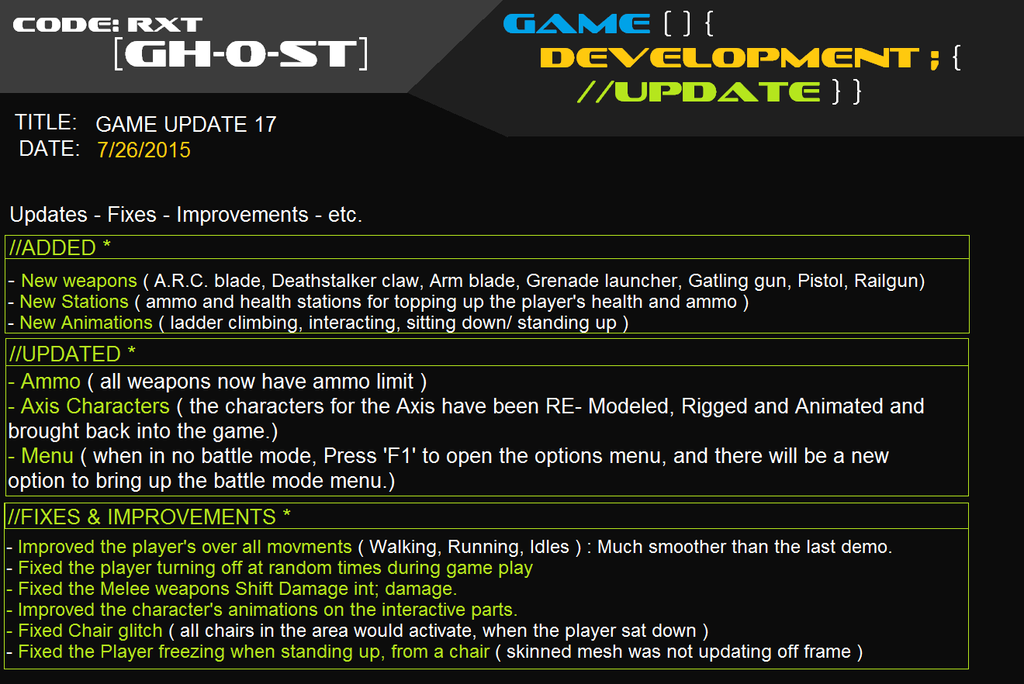 Code RXT [GH-0-ST] Game Update 17 by ownerfate