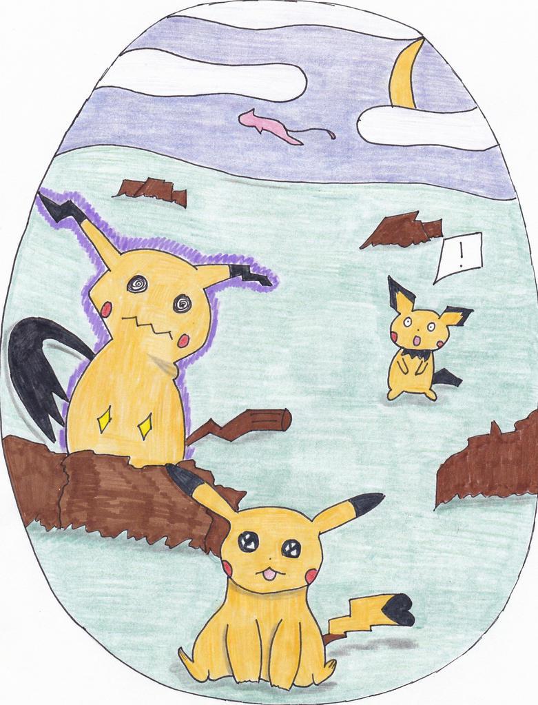 Jealous Mimikyu try to kill Pikachu by Viktyel