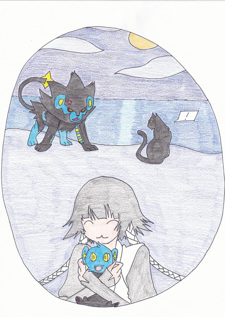 Soi Fon hugs lixy: Yoruichi and Luxray angry by Viktyel