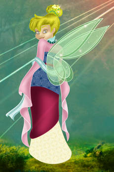 Tinkerbell as Mulan: Colored