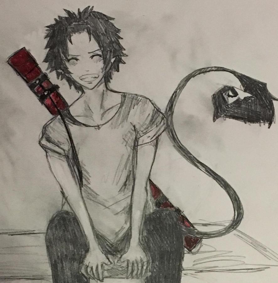 Rin Okumura sketch by WolfieloveKibalover