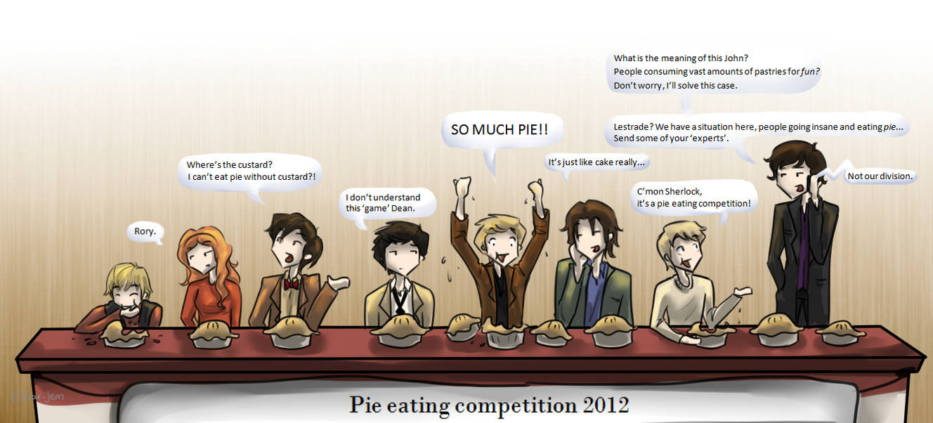 Superwholock - Pie eating competition by Star-Jem on DeviantArt