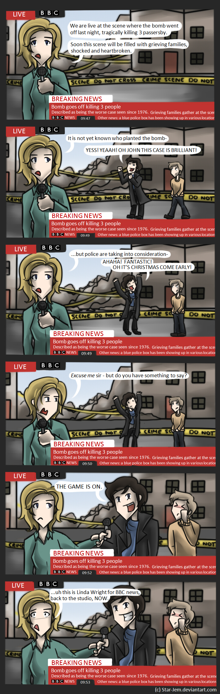 Sherlock can't resist a crime scene by Star-Jem