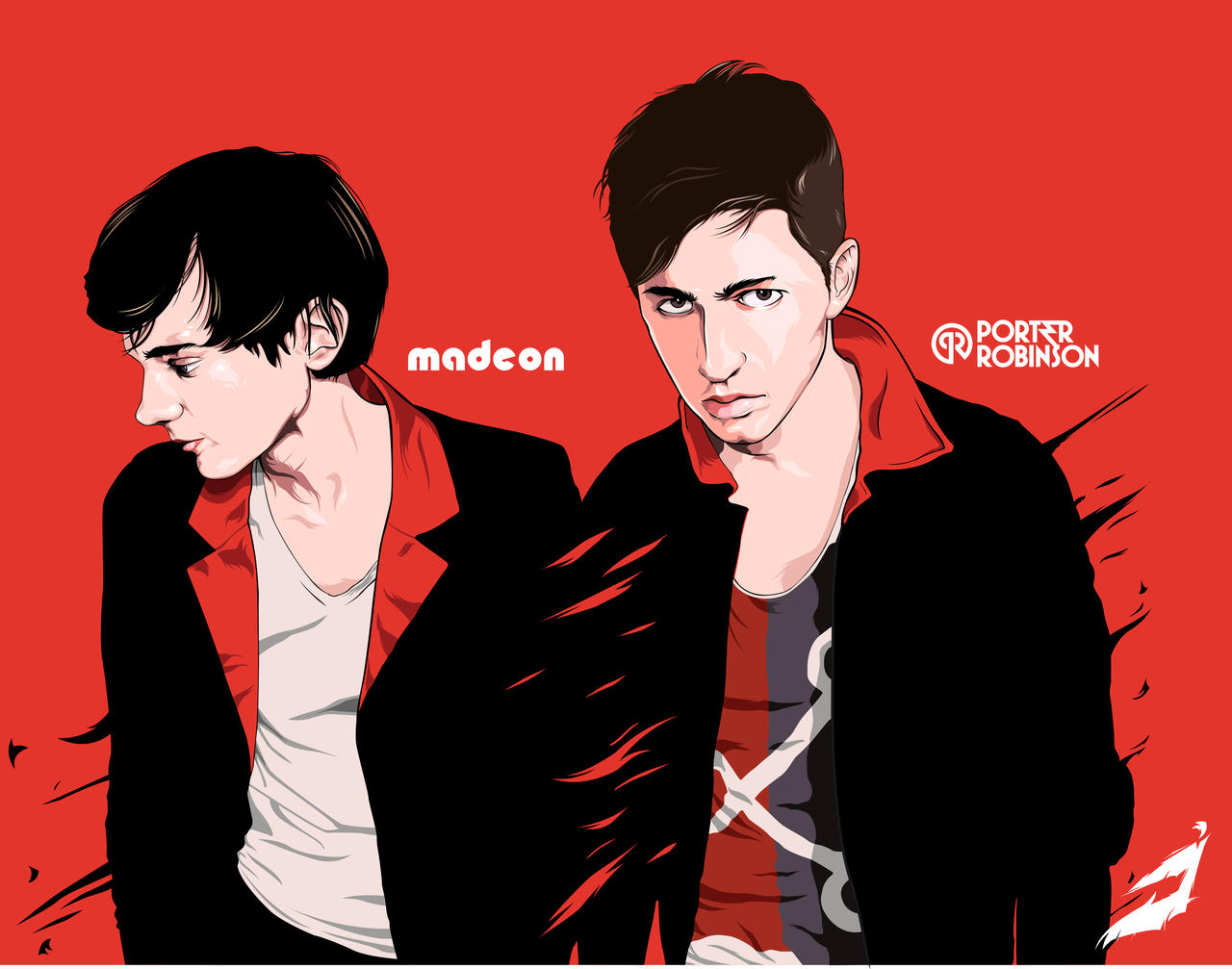 Porter robinson and madeon vector art by mhirraw on deviantart for Madeon y porter robinson