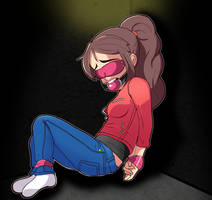 Claire blindfolded. by Broseidon-Of-The-Sea