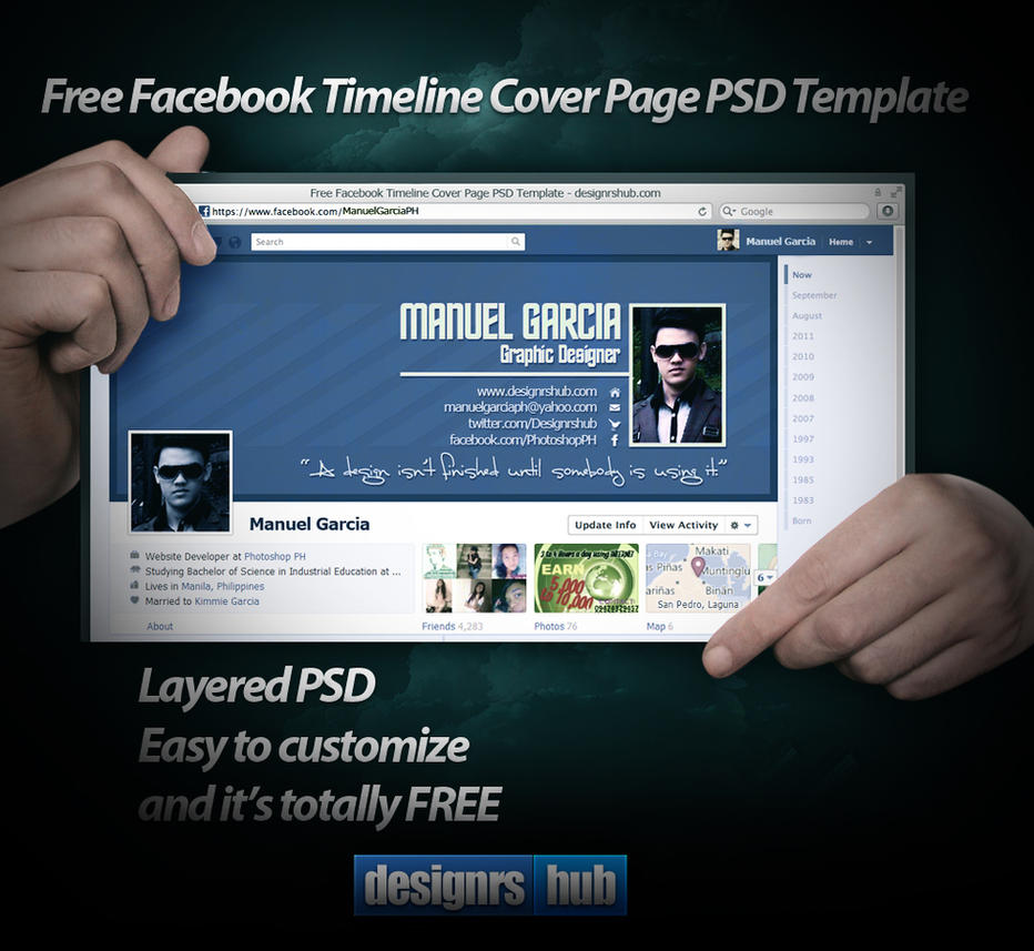 Free facebook timeline cover page psd template by for Facebook app template psd