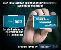 Two Free Blue Textured Business Card PSD Template by MGraphicDesign