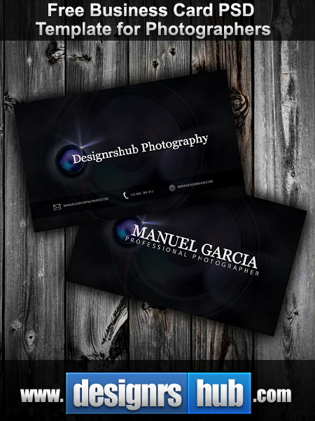 Free business card psd template for photographers by mgraphicdesign reheart Images