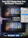 Free 2012 Happy New Year Wallpaper PSD Template