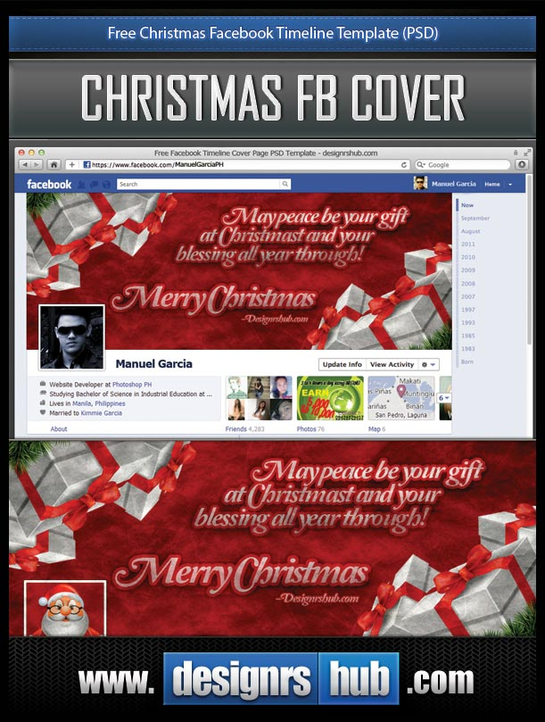 Free Christmas Facebook Timeline Template (PSD) by MGraphicDesign