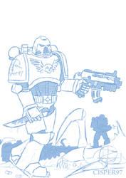 Warhammer 40k Space Marines (sketch) by Cisper97