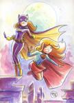 Supergirl Batgirl Watercolor