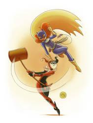 Batgirl vs Harley Quinn by mikemaihack