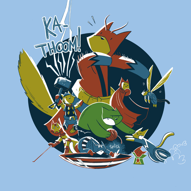 Catvengers assemble on a T-shirt by mikemaihack