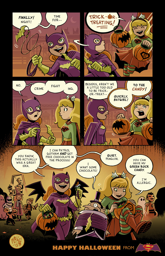 Happy Halloween from Batgirl and Supergirl by mikemaihack