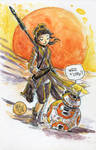 Watercolor: Rey and BB-8