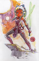 Watercolor: Ahsoka Tano by mikemaihack