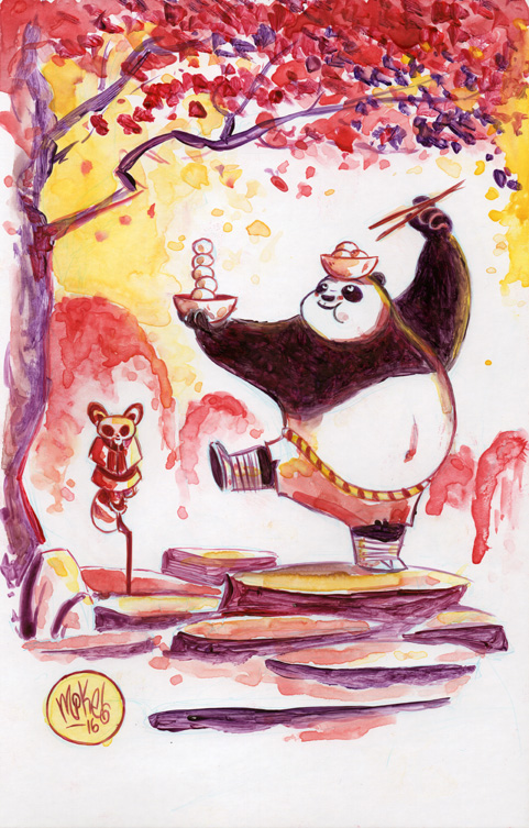 Watercolor: Kung Fu Panda by mikemaihack