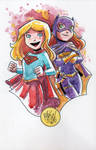 Watercolor: Batgirl and Supergirl