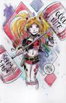 Watercolor: Harley Quinn (again)
