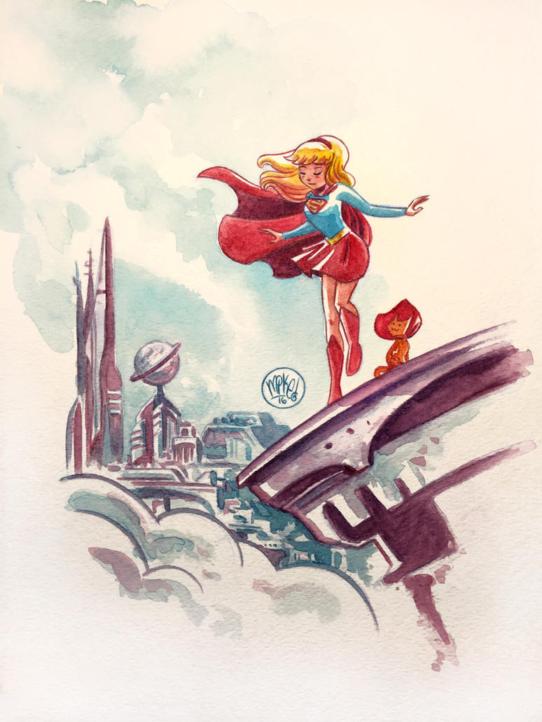 Supergirl Watercolor by mikemaihack
