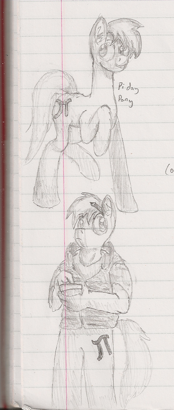 Pi Day Pony Sketch by Raxore