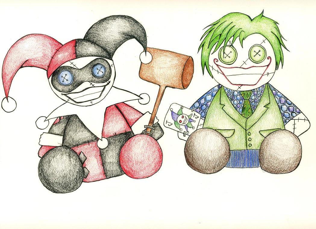 Harley and Joker Rag Dolls by SkitsoSquirrel