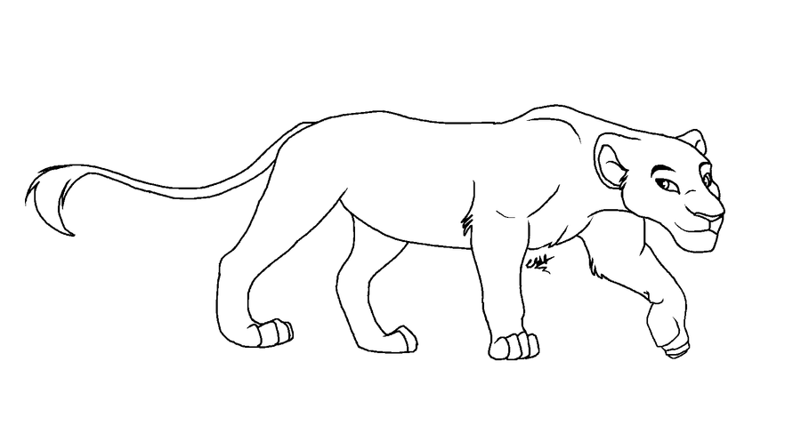 Lioness lineart by sofielruesdelartiste on deviantart for Lioness coloring pages