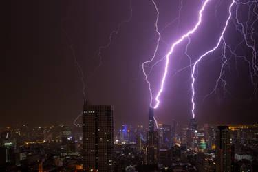 Thunderstorm in Bangkok, Thailand