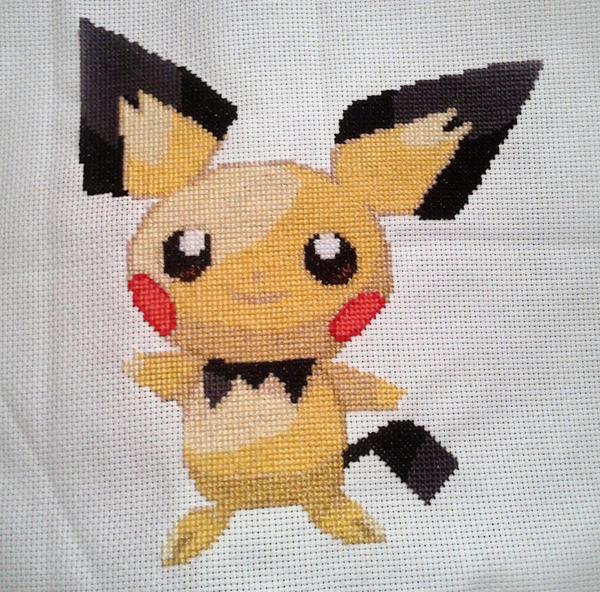 Pichu Cross Stitch by liquidblueeyes