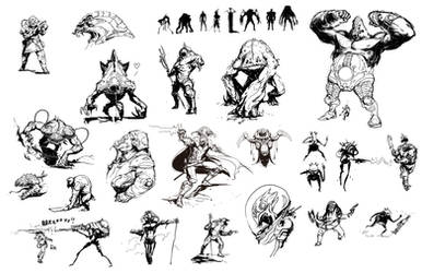 Alien Sketches by david-sladek