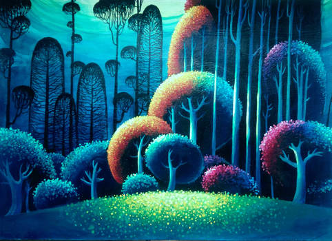 Trying to paint something in Eyvind Earle's style