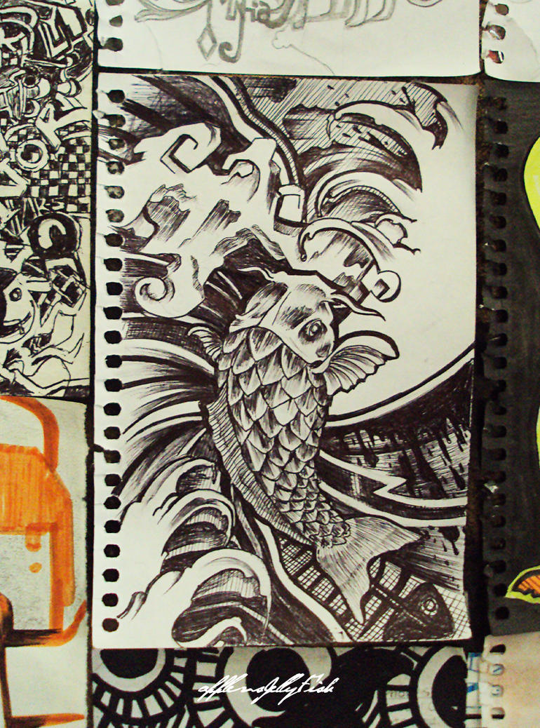 Koi fish ll Sketch Version by applevsjellyfish