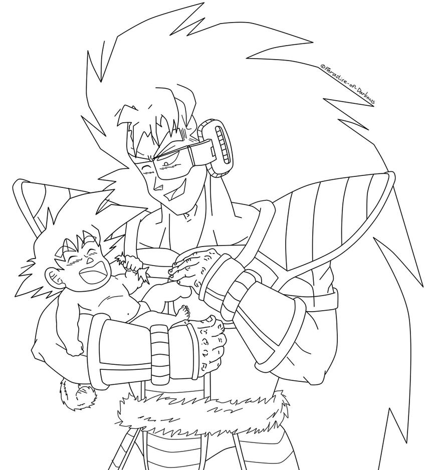 Baby Kakarot and teen Raditz - Lineart by Paradise-of-Darkness