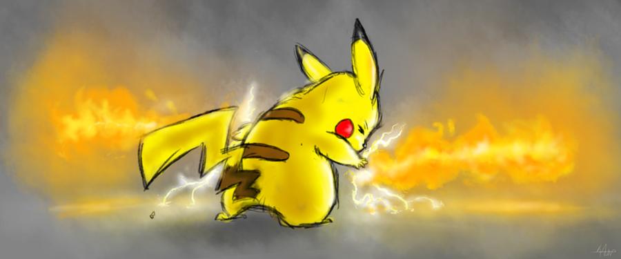Fire Bending Pikachu Sketch by fabman132